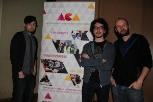 Longtemps décrié, le geek est désormais au top de la hype. De gauche à droite : Francois Descraques, Navo et Rudy Lamboray, photographe qui s'est mué pour l'occasion  en animateur espiègle et efficace. (photo ACA)